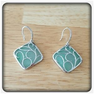 NWOT Genuine Jade & Sterling Silver Earrings